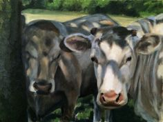 Cow painting. Cows make me happy. There's no reason, but they make me happy. 30x40 cm oil on 230 gram paper. 180€. Erica Hyatt. www.ericahyatt.com Cow Painting, Cows, Original Art, Paintings, Landscape, Portrait, Paper, Animals, Cow Wall Art