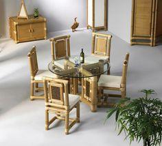 conjunto de comedor en bambú