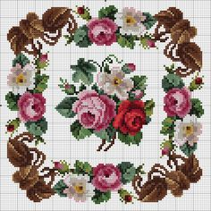 Floral pillow design of Cross Stitch Rose, Cross Stitch Borders, Cross Stitch Flowers, Cross Stitch Designs, Cross Stitching, Cross Stitch Embroidery, Cross Stitch Patterns, Embroidery Patterns Free, Embroidery Designs