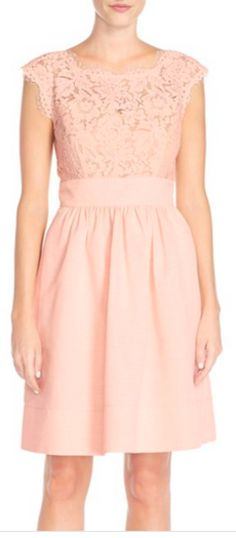 Beautiful lace & faille dress in blush pink