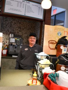 2/5/13 -- Susan Brodzina serves coffee with a smile at the Career Services Building's café, University Park.