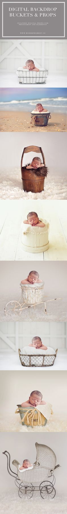 The BEST digital backdrops with props! So easy to change up your images. Newborn photography digital backdrops. The newborn is the exact same in every single picture! www.modernmarket.co