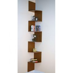 we wouldn't be able to put it up against the brick but I like it... Furniture, : Extraordinary Apartment Furniture Design Of Hanging Brown Wooden Cornered Bookcase Combine With White And Beige Wall Paint Color