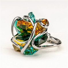 Monique-Maestoso Ring with Swarovski - Green and Yellow - Rhodium-MRRD8-AG-EG-TY