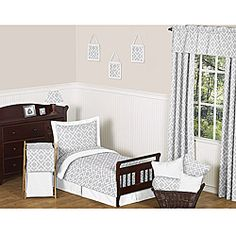 @Overstock - This unisex stylish toddler set features an exclusive JoJo Designs grey diamond print. The color scheme is paired with solid white in 100-percent cotton fabrics.http://www.overstock.com/Bedding-Bath/JoJo-Designs-Diamond-Grey-and-White-5-piece-Toddler-Bedding-Set/6713161/product.html?CID=214117 $89.99