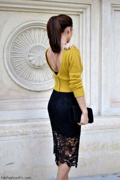 Lace pencil skirt and back jewelry for fab spring look