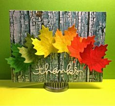 Lawn Fawn - Stitched Leaves Lawn Cuts dies - gorgeous Autumn leaves card by Deborah at CardCrazyCrafter: More Lawn Fawn Leaves