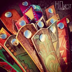 HD west painted leather cuffs