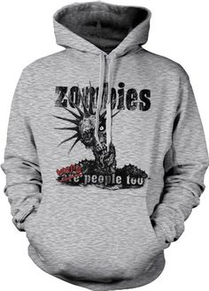 Zombies Were People Too Mens Horror Sweatshirt Funny Punk Zombie Pullover Hoodie X-Large Lt-Gray