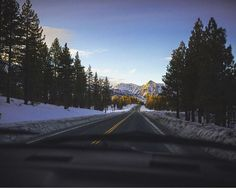 Driving through the mountains in Lake Tahoe.