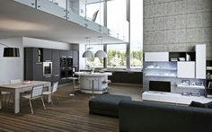 Integrated kitchen in living room