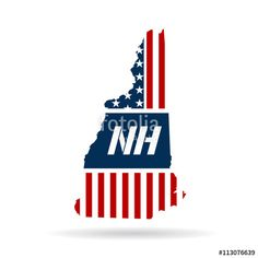 New Hampshire patriotic map. Vector graphic design illustration