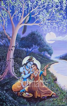 Full moon in purple Divine couple by river Yamuna syamarts Radha Krishna Quotes, Radha Krishna Images, Lord Krishna Images, Radha Krishna Photo, Krishna Photos, Krishna Art, Hare Krishna, Indian Art Gallery, Krishna Drawing
