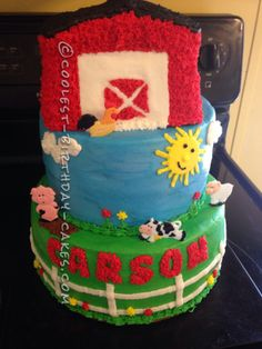 Cool 3-Tier Farm Cake for a First Birthday... This website is the Pinterest of birthday cake ideas