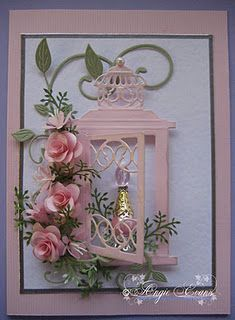 Note: used lantern as base for quilled flowers - Gorgeous Quilled flower design!