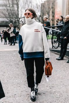 Street style inspiration, oversize sweater outfit, fashion week street style, ideas de looks, idée de tenue