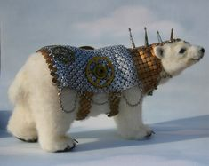 Alpaca Needle Felted Steampunk Panserbjorne Armored Ice Bear with Whiting & Davis Armor OOAK Artist Bear. $1800,00, via Etsy.
