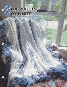 Afghan Blanket Crochet Pattern Blue Ruffles by KnitKnacksCreations