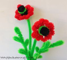 PIPE CLEANER POPPY FLOWER - VIDEO TUTORIAL IS AVAILABLE