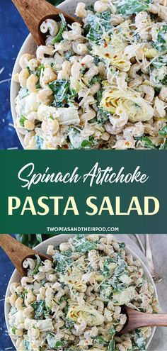 You can never go wrong with an easy Spinach Artichoke Pasta Salad during summer! Taste the same creamy flavors of a beloved classic dip in this menu idea you can make ahead. A favorite side dish recipe perfect for your summer potlucks and parties! Spinach Artichoke Pasta, Pasta Salad With Spinach, Summer Pasta Salad, Pasta Salad Recipes, Summer Salads, Soup And Salad, Summer Pasta Recipes, Summer Potluck, Tortellini Salad