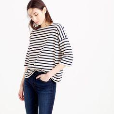 Oversized drop-sleeve striped T-shirt