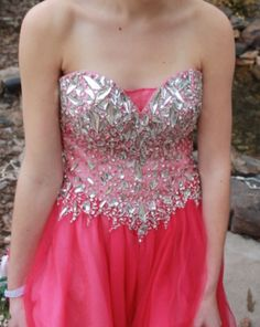 Hot Pink Strapless Prom Dress!!!  Listed for $300 on PromAgain.com #promagain #prom #formal #dress #gown #resale #preowned #used #cheap #buy #sell #pink