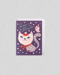 Snow Cat Christmas Card By Helen Dardik | Lagom Design