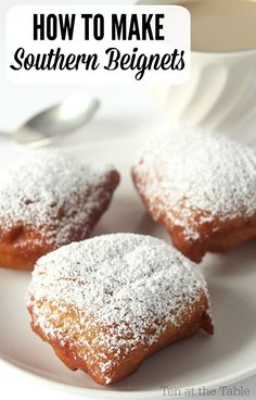 Beignets are no different than Austrian doughnuts. Tastes exactly the same. How to Make Southern Beignets Just Desserts, Delicious Desserts, Dessert Recipes, Yummy Food, Tasty, Donut Recipes, Cooking Recipes, Pasta Recipes, Comida Disney