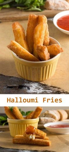 A different sort of crunchy fries ... halloumi fries! You won't be disappointed ... just don't forget the sour cream and sweet chili sauce for dipping! #RePin by AT Social Media Marketing - Pinterest Marketing Specialists ATSocialMedia.co.uk