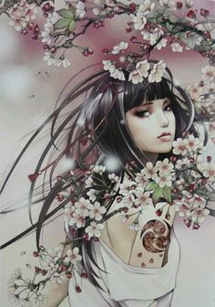 images for anime girl fantasy Geisha Kunst, Geisha Art, Geisha Tattoos, Anime Fantasy, Fantasy Girl, Cherry Blossom Girl, Art Japonais, Beautiful Fantasy Art, Art Graphique