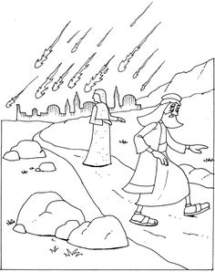Lot and his daughters fleeing the destruction of sodom and New Testament Coloring Page Winter Coloring Page Lot's Wife Salt Pillar Size