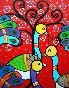 peacock painting, mexican art, Whimsical Tree of Life Painting, birds, folk art, prisarts, florals, flowers, blooms, original, art collector, curator , painting, restaurant art