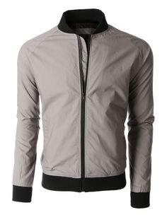 Mens Lightweight Windbreaker Fully Lined Zip Up Bomber Jacket
