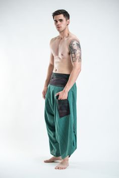 Men's Pinstripe Button Up Cotton Pants with Hill Tribe Trim Green