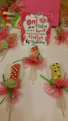 Watermelon related themed birthday cookies
