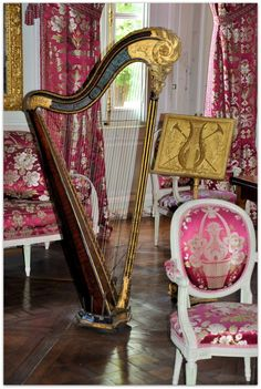 Petit Trianon (located on the grounds of Versailles Palace) - Salon de compagnie & instruments.  Versailles, France