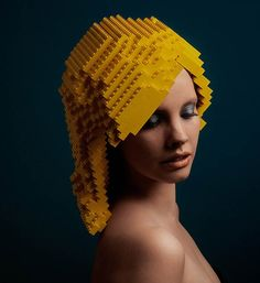 mindplay: bricks on me by elroy klee. Holland-based design studio elroy klee advertisement shoot using the building blocks of LEGO's. Using only yellow pieces, the constructed wig resembles blonde layers.