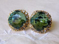 Green Swarovski crystal stud earrings by EldorTinaJewelry on Etsy, $44.00