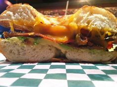 The Brunch Bagel at Bagels by the Sea in Seaside, OR, comes with bacon, avocado, tomato and Tillamook cheddar cheese