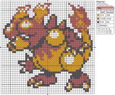 Birdie Stitching Pokemon Pattern - 126 Magmar
