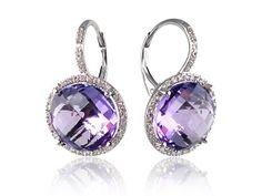 Amethyst And Diamond Drop Earrings Diamond Drop Earrings, Diamond Studs, Women's Earrings, Diamond Jewellery, Stylish Jewelry, Fine Jewelry, Fashion Jewelry, Affordable Jewelry, Purple Diamond
