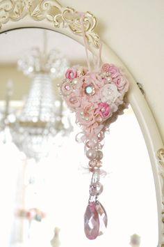 Beautiful Handmade Ribbon Work Heart Ornament by Jenneliserose Heart Wreath, Heart Ornament, Fabric Ribbon, Pink Fabric, Shabby Chic Hearts, Pink Chandelier, Ribbon Work, Angel Wings, Handmade Flowers
