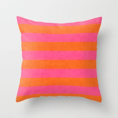 hot pink and orange stripes Throw Pillow by her art