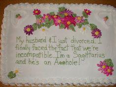 Divorce party cake. Trash the Dress