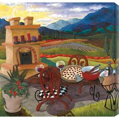 "Gallery Direct Italian Kitchen by Susan Webster Painting Print on Canvas Size: 40"" H x 40"" W"