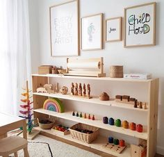 Beautiful Montessori playroom / workspace at home. Beautiful Montessori playroom / workspace at home Montessori Playroom, Montessori Baby, Waldorf Playroom, Waldorf Toys, Playroom Design, Playroom Ideas, Childminders Playroom, Playroom Shelves, Cubbies