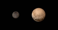 A portrait from the final approach. Pluto and Charon display striking color and brightness contrast in this composite image from July 11, showing high-resolution black-and-white LORRI images colorized with Ralph data collected from the last rotation of Pluto. Color data being returned by the spacecraft now will update these images, bringing color contrast into sharper focus. Credits: NASA-JHUAPL-SWRI