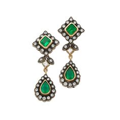 Pair of Blackened Gold, Gold, Emerald and Diamond Pendant-Earrings 14 kt., 2 square-shaped & 2 pear-shaped emeralds ap. 1.25 cts., 60 round & 2 princess-cut diamonds ap. 1.05 cts., ap. 5.2 dwts.