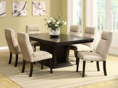 Avery Dining Room Set Product ID: HOE-5448-78-ROOM ash veneers in a rich espresso finish The chair is upholstered in a linen-like chenille fabric.