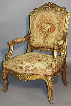 Fine French 19th Century Louis XV Style Gildwood Carved Aubusson  Fauteuil, By FOREST, a Paris. Circa: 1880.
